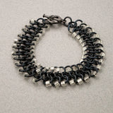 Black and White Beaded Chainmaille Ribbon Bracelet - Sinclair Jewelry - 4