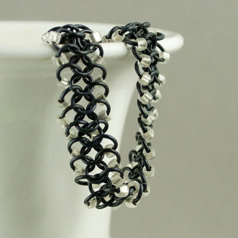 Black & White Beaded Chainmaille Ribbon Bracelet