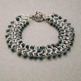 Forest Green and Silver Beaded Chainmaille Ribbon Bracelet - Sinclair Jewelry - 4