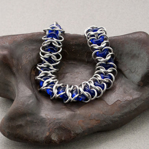 Blue and Silver Chainmaille Bracelet with Glass Rings - Sinclair Jewelry - 1