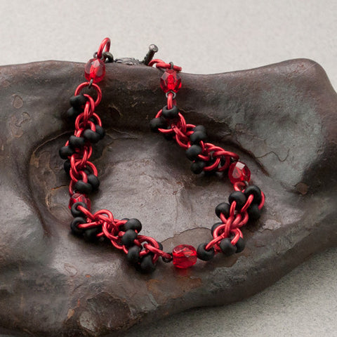 Black and Red Beaded Chainmaille Bracelet - Sinclair Jewelry - 1