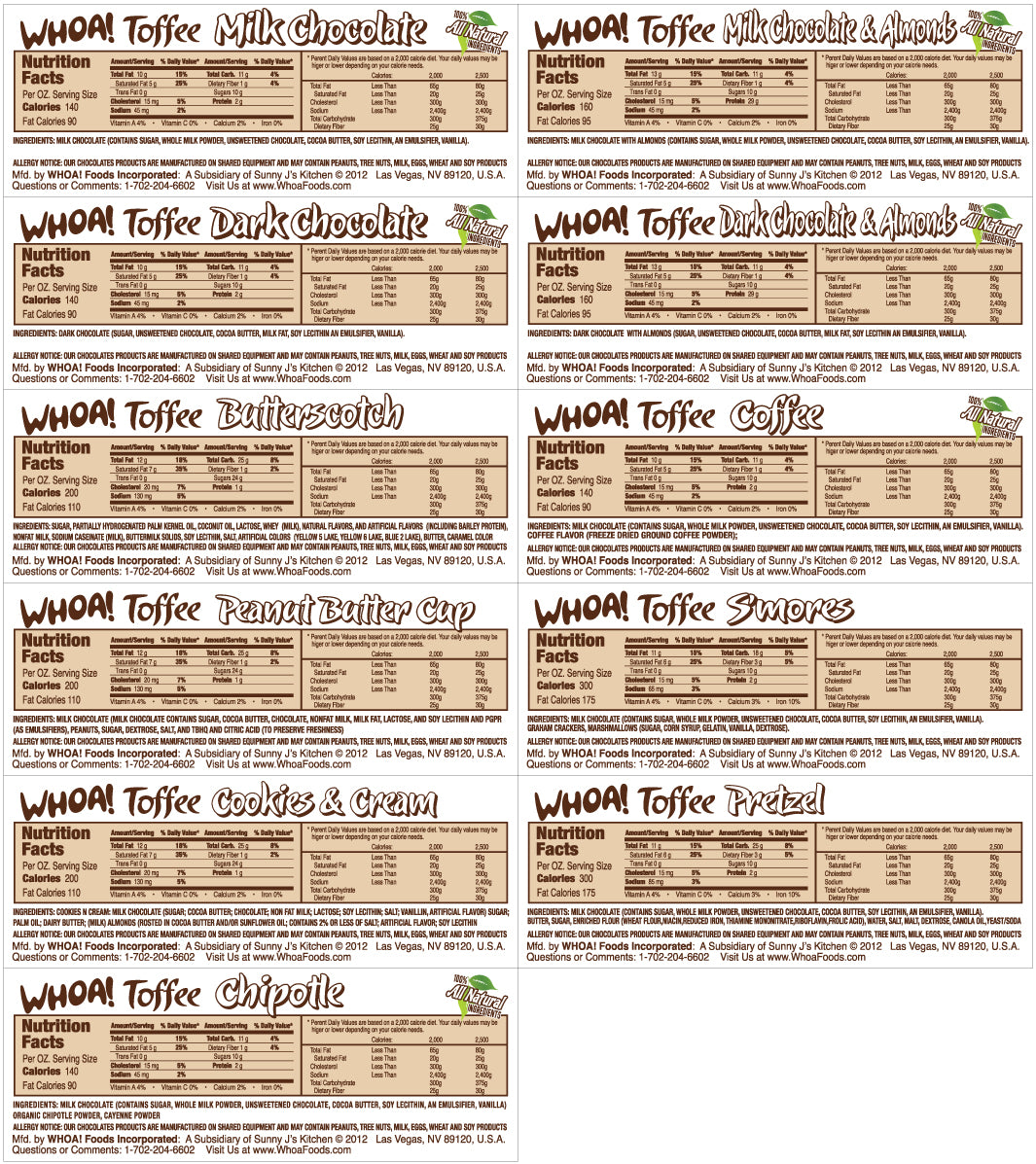 Whoa! Toffee Nutritional Labels