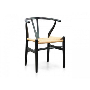 Sandra Black Frame Dining Chair Beige