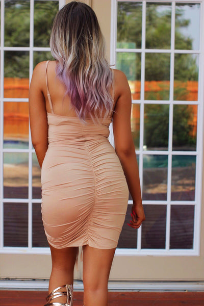 Simply Irresistible Nude Ruched Bodicon Dress