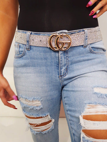 Clear Rhinestone with GG Buckle Belt