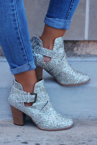 Champagne Pop Glitter Sequin Booties