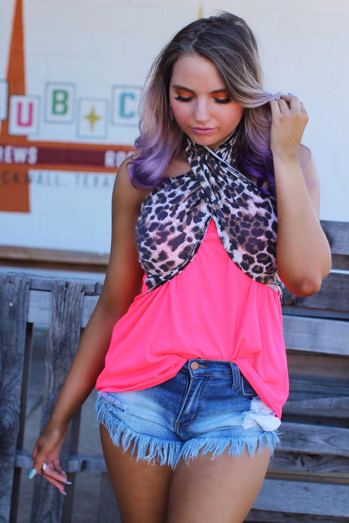 Check This Out Neon Pink Leopard Tube Halter Top