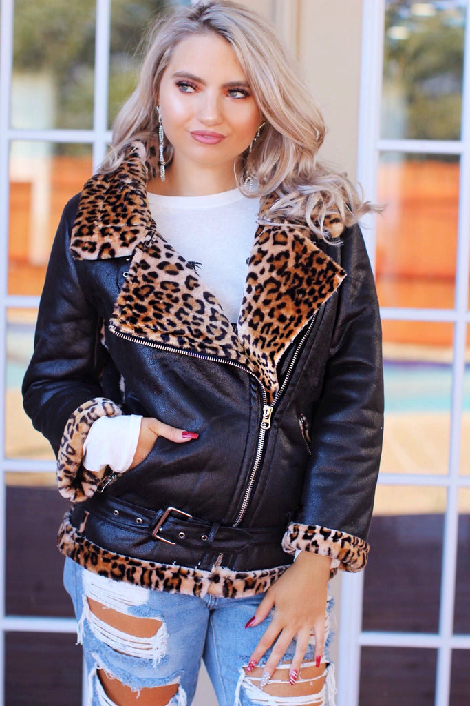 Rock The Party Black Leopard Fur Lined Moto Jacket