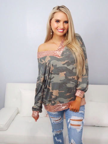 Dare Me Camo with Pink Sequin V-Neck Top