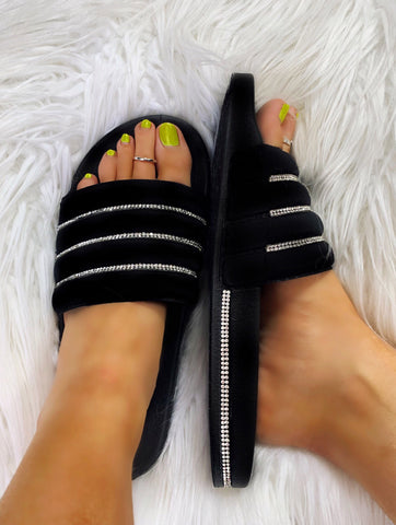 Beach Fling Black with Bling Detail Slide Shoes