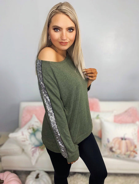 Effortless Style Olive Open Sleeve Sequin Top