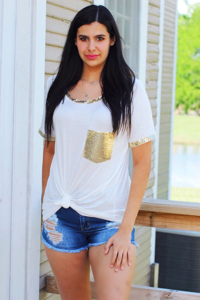 Sunburst Sequin Pocket and Sleeve Edge Top
