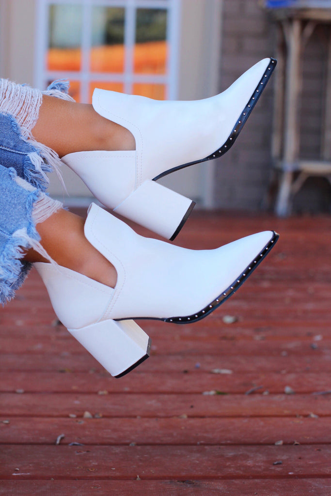 Showing Up White Stud Detail Chunky Heel Booties
