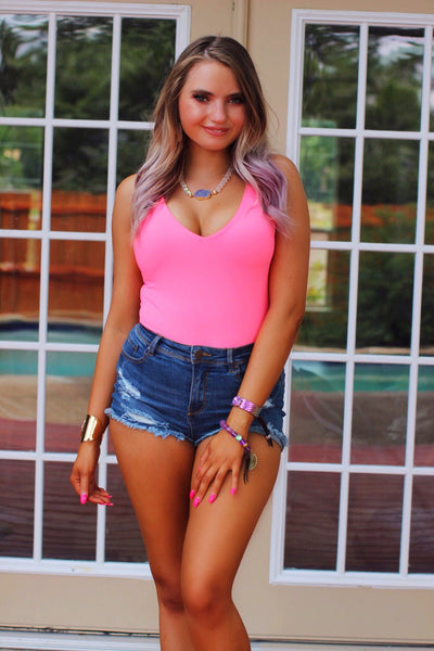 Sunset Cruise Neon Pink V Cut Bodysuit