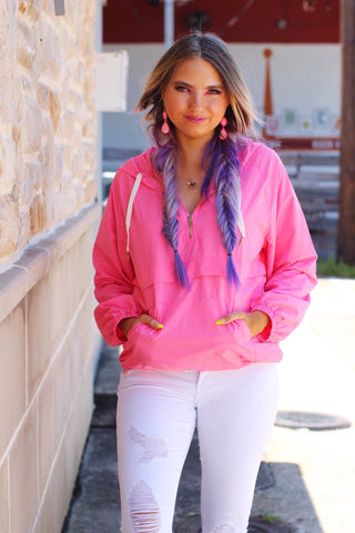 Shoreline Kisses Neon Pink Adjustable Waist Pullover Jacket