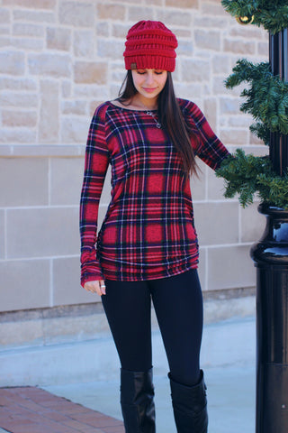 Alana Plaid Scrunch Sleeve Top