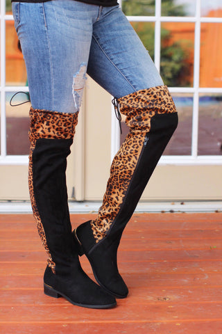 Beyond Wild Black Leopard Above Knee Boots