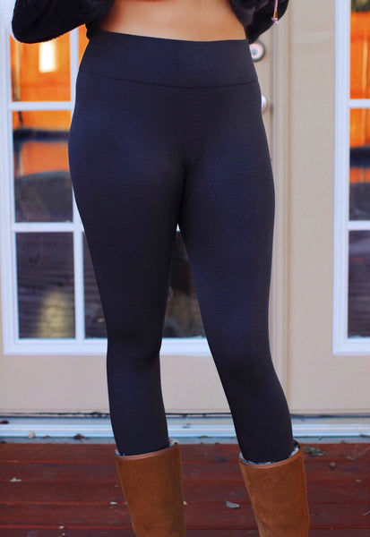 Charcoal High Waist Fleece Leggings