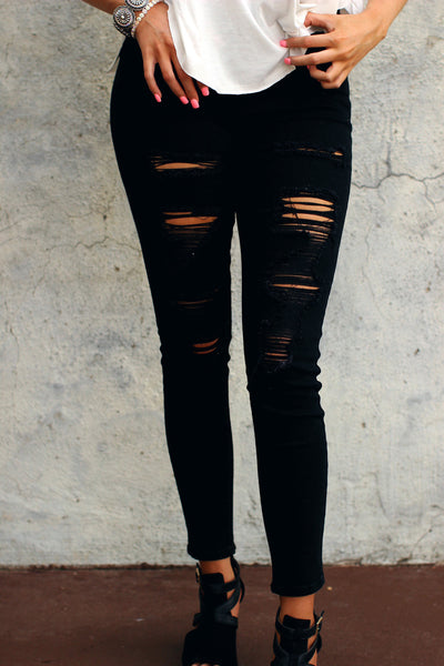 High Waisted Distressed Black Skinny Jeans
