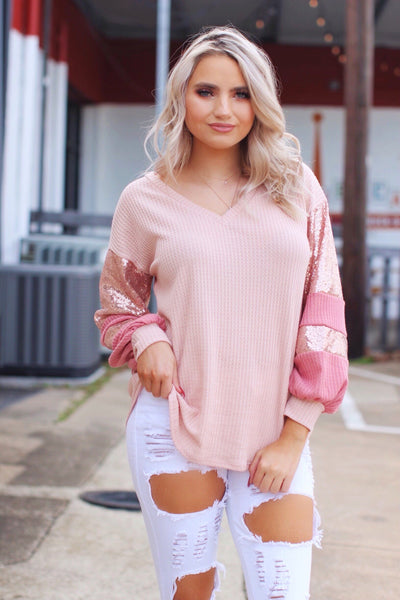 Firelight Reflections Blush Rose Gold Sequin Thermal Puff Sleeve Top