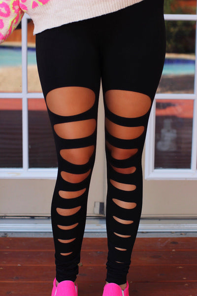 Leah Black Distressed Leggings