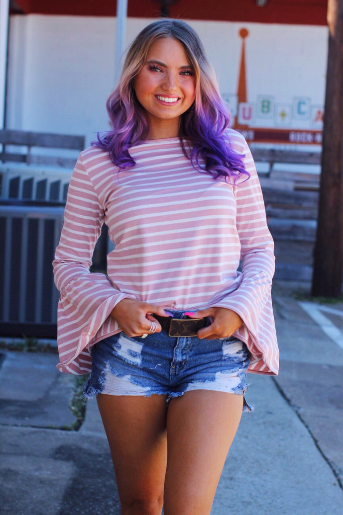 Pink Mauve Bell Sleeve Striped Top