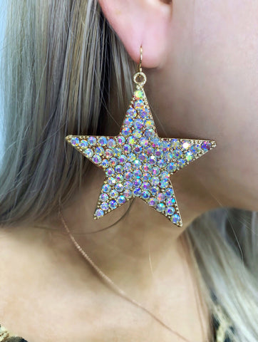 Own The Night Gold AB Crystal Star Earrings
