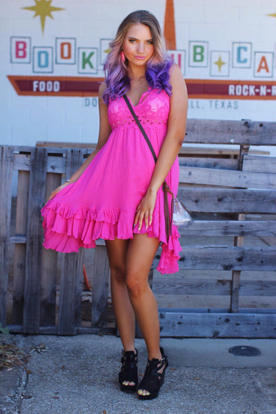 Truest Love Neon Fuchsia Crochet with Built In Bralette Dress