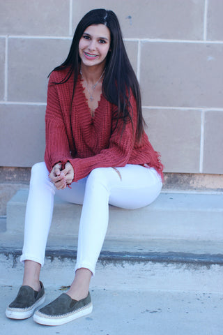 Brick Frayed Sweater