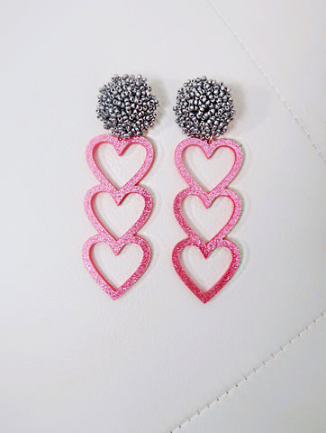 Pink Glitter Trio Heart With Silver Bead Pom Earrings