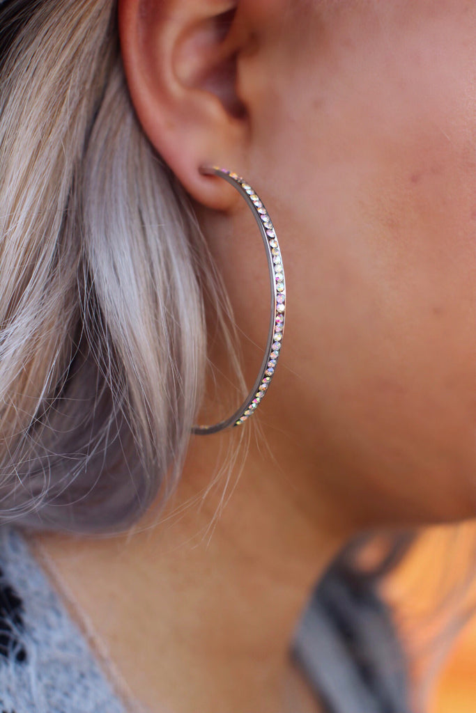 Stella Silver AB Crystal Hoop Earrings