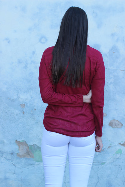 Rebecca Burgundy  Thermal Knit Tie Front Top