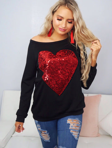 My Heart Black With Big Red Sequin Heart Top