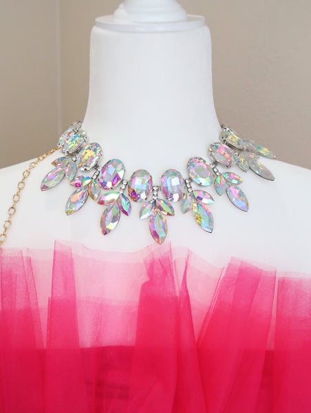Glam Rock AB Glass Crystal Vine Collar Necklace