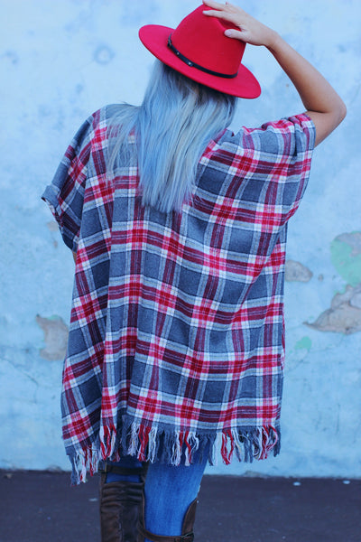 Dolly Plaid Poncho