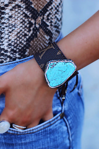 LV Pave Turquoise Stone Leather Cuff Bracelet