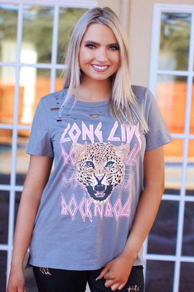 Long Live Rock N Roll Gray Leopard Distressed Graphic Top