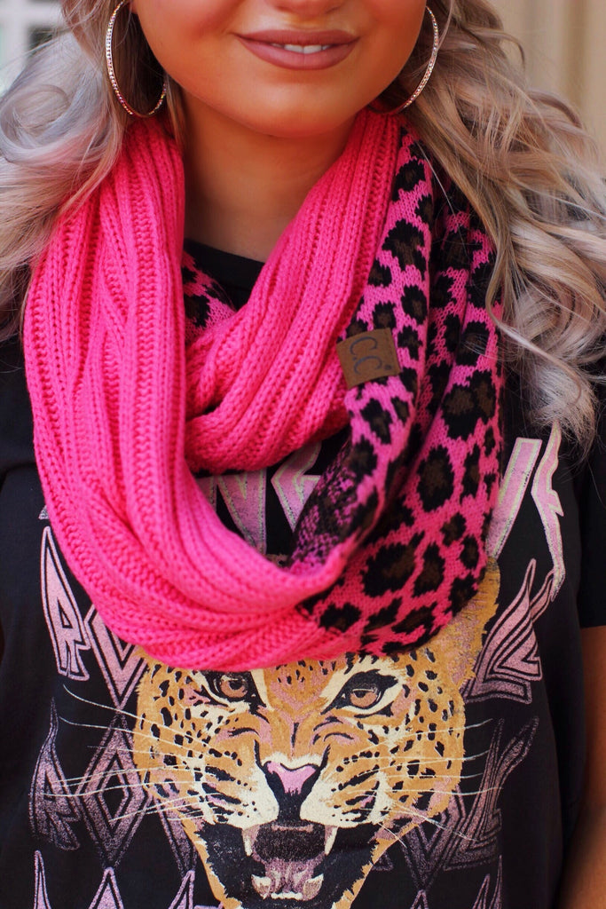 Neon Pink Leopard CC Infinity Scarf