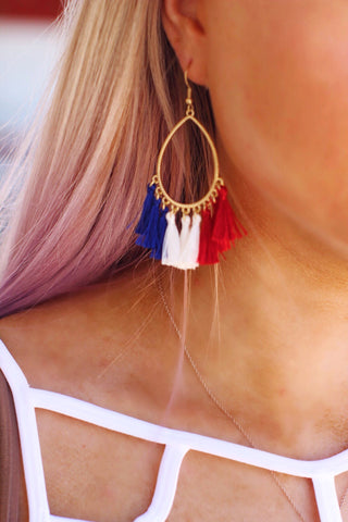 Red White and Blue Tassle Earrings