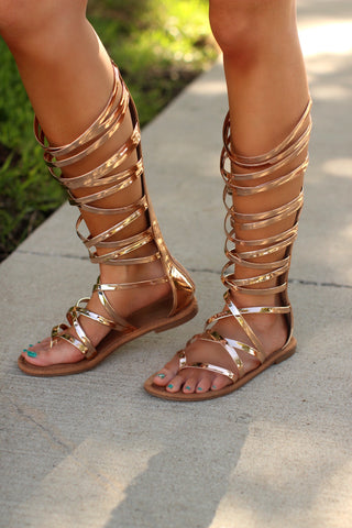 Helen Rose Gold Gladiator Sandals