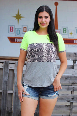 Beach Bar Neon Lime Snake Color Block Top