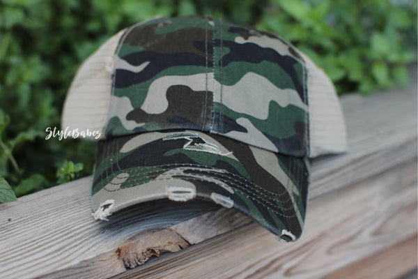 Distressed Camo Print Mesh Back Ponytail Trucker Cap