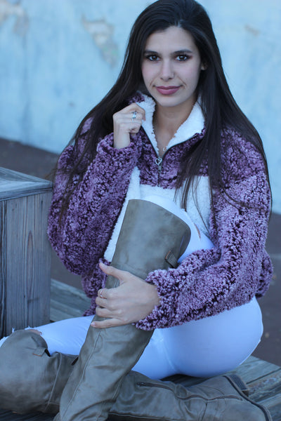 Mandy Maroon and White Zip Sherpa Pullover