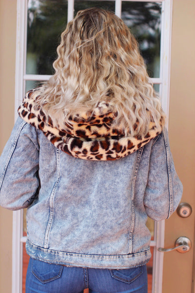Influencer Life Denim Leopard Hoodie Jacket
