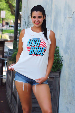 USA Babe Distressed White Top