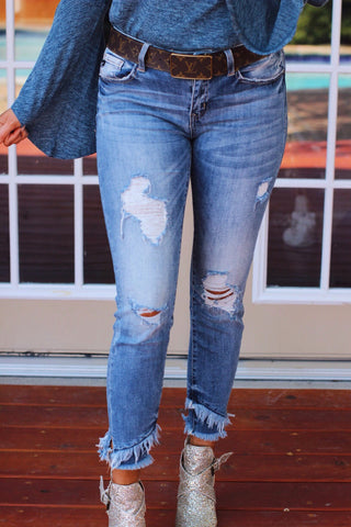 Stormy Distressed Mid Rise Frayed Ankle Skinny Jeans