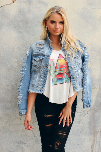 Chelsea Destroyed Cropped Denim Jacket