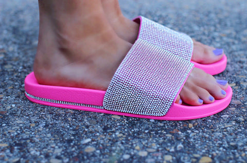 Insta Famous Neon Pink Bling Slide Shoes