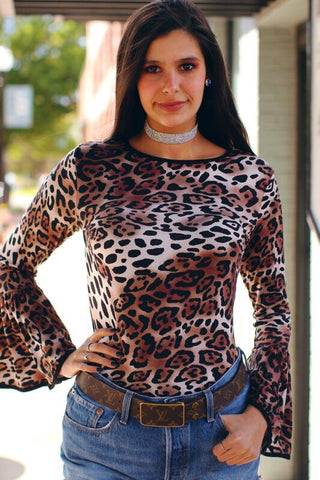 Animal Vibes Leopard Print Bell Sleeve Top