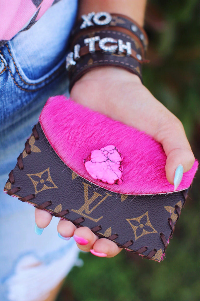 LV Pink Cowhide and Stone Card Wallet